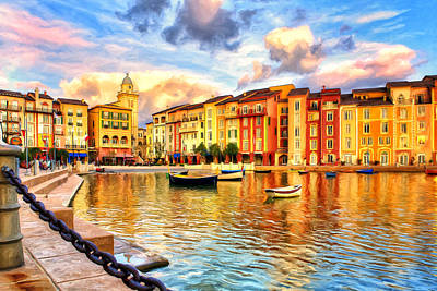 Portofino Italy Painting - Morning At Portofino by Dominic Piperata
