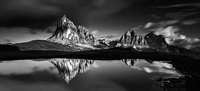 Mountain Reflection Lake Summit Mirror Photograph - Morning At Ra Gusela by Lubos Balazovic