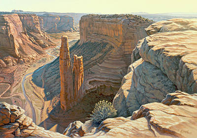 Navajo Painting - Morning At Spider Rock by Paul Krapf