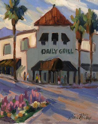 Storefront Painting - Morning At The Daily Grill by Diane McClary