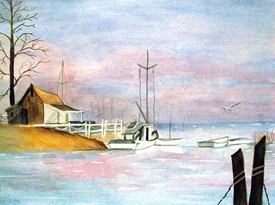 Morning At The Harbor Art Print by Zelma Hensel