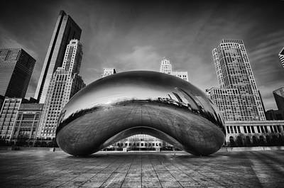 Chicago Skyline Photograph - Morning Bean In Black And White by Sebastian Musial