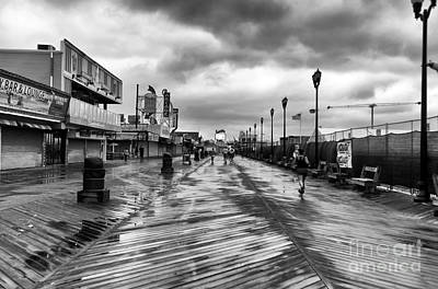 Morning Boardwalk Mono Art Print by John Rizzuto