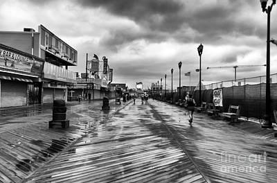 Seaside Heights Photograph - Morning Boardwalk Mono by John Rizzuto