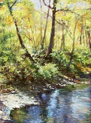 Impressionistic Landscape Painting - Morning By The River by Bonnie Mason