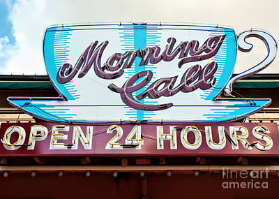 Photograph - Morning Call Neon Cup Sign In New Orleans by Kathleen K Parker