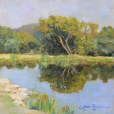 Pond Painting - Morning Calm In Texas Summer by Anna Rose Bain