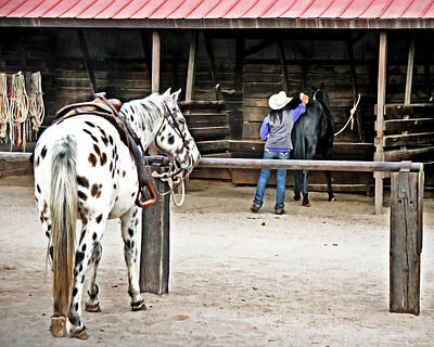 Working Cowboy Digital Art - Morning Chores by Barbara D Richards