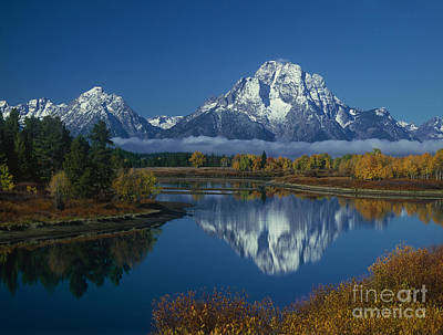 Art Print featuring the photograph Morning Cloud Layer Oxbow Bend In Fall Grand Tetons National Park Wyoming by Dave Welling