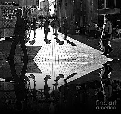 Art Print featuring the photograph Morning Coffee Line On The Streets Of New York City by Lilliana Mendez
