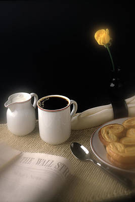 Photograph - Morning Coffee With Yellow Rose by Roger Passman
