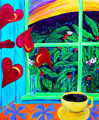 Coffee Painting - Morning Cup Of Kona by Beth Cooper