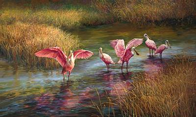 Flock Of Bird Painting - Morning Dance by Laurie Hein