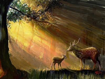 Mountain Valley Painting - Morning Deer by James Shepherd