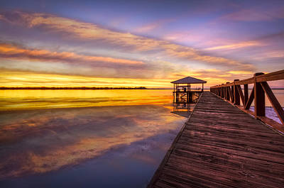 Florida Bridge Photograph - Morning Dock by Debra and Dave Vanderlaan