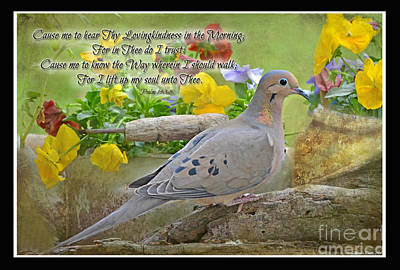 Morning Dove With Verse Art Print by Debbie Portwood