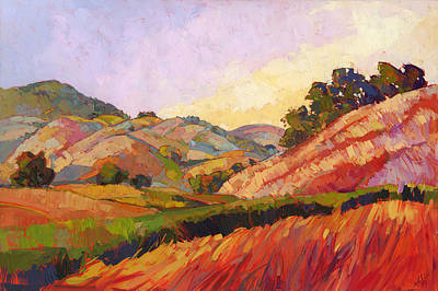 Los Angeles Landscape Painting - Morning Fields by Erin Hanson