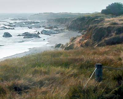 Morning Fog At Ocean Coastline Art Print by Elaine Plesser