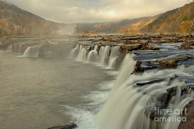 Photograph - Morning Fog At Sandstone Falls West Virginia. by Adam Jewell