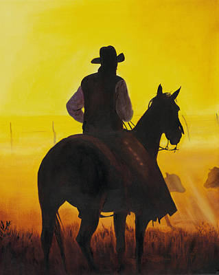 Western Horse Painting - Morning Fog by Don Dane
