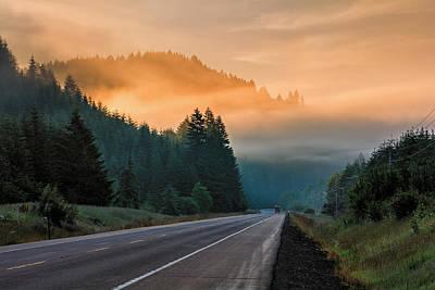 Morning Fog In Oregon Art Print
