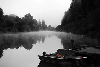 Black And White Photograph - Morning Fog On Russian River by Art K