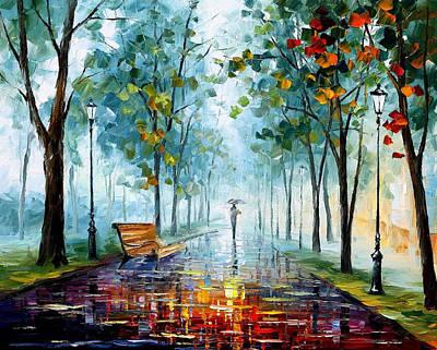 Morning Fog - Palette Knife Oil Painting On Canvas By Leonid Afremov Original by Leonid Afremov