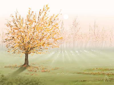Landscape Digital Painting - Morning Fog by Veronica Minozzi
