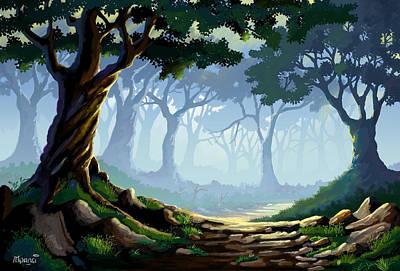 Amazon Jungle Painting - Morning Forest Mist by Anthony Mwangi