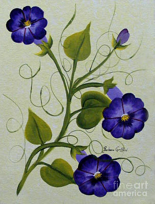 Tendrils Painting - Morning Glories by Barbara Griffin