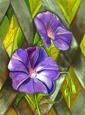Morning Glories Original by Elaine Hodges