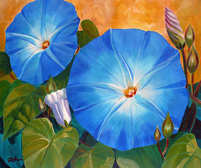 Painting - Morning Glories by Janet Zeh