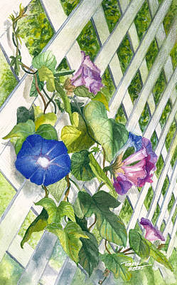 Painting - Morning Glories by Terry Albert