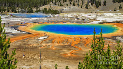 August Photograph - Grand Prismatic Geyser Yellowstone National Park by Edward Fielding