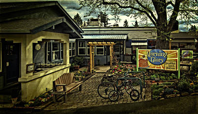 Print featuring the photograph Morning Glory Cafe Ashland by Thom Zehrfeld