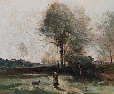 Field Grey Painting - Morning In The Field by Jean Baptiste Camille Corot