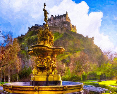 Photograph - Morning In The Gardens Below Edinburgh Castle by Mark E Tisdale