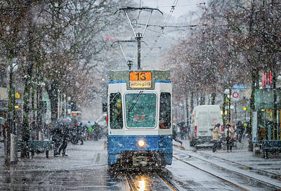 Snowfall Photograph - Morning In Zurich by Attila Szabo