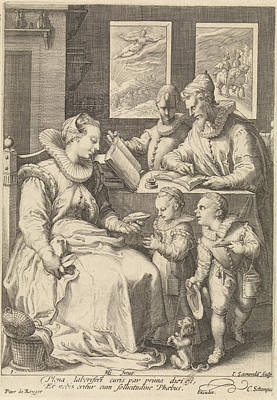 Hand Crafted Drawing - Morning, Jan Saenredam, Cornelius Schonaeus by Jan Saenredam And Cornelius Schonaeus And Pieter De Reyger