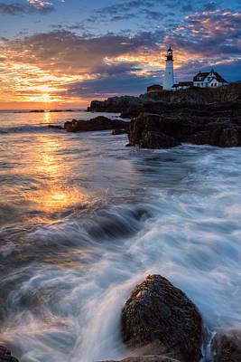 Coastal Maine Photograph - Morning Light At Portland Head by Jeff Sinon