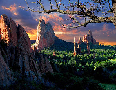 Mountain Royalty-Free and Rights-Managed Images - Morning Light at the Garden of the Gods by John Hoffman