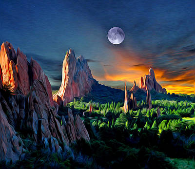 Megalith Photograph - Morning Light At The Garden With Moon by John Hoffman