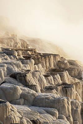 Mammoth Spring Photograph - Morning Light Burns Through Heavy Steam by Carl Johnson