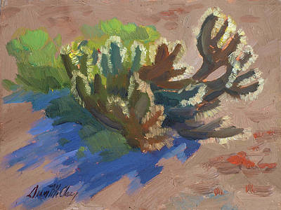 Country Scenes Painting - Morning Light Cholla by Diane McClary