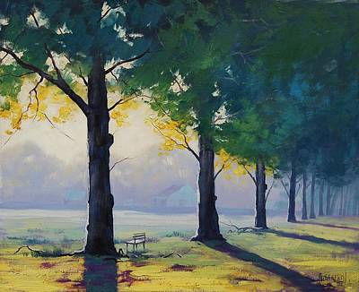 Park Benches Painting - Morning Light by Graham Gercken