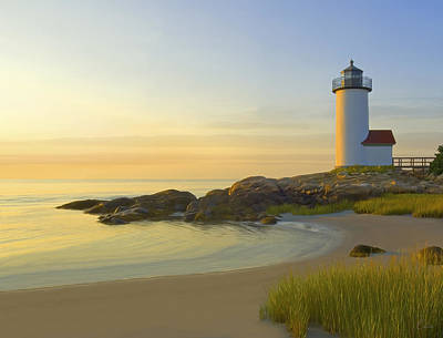 New England Lighthouse Painting - Morning Light by James Charles