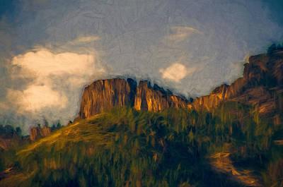 Fir Trees Mixed Media - Morning Light On Cliffs by John K Woodruff