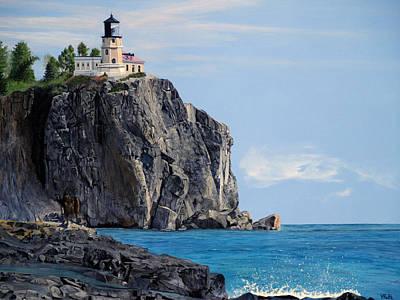 Painting - Morning Light On Split Rock Lighthouse by Vicky Path