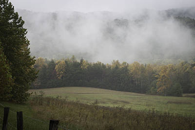 Photograph - Morning Light With Fog At Cade's Cove by Karen Stephenson