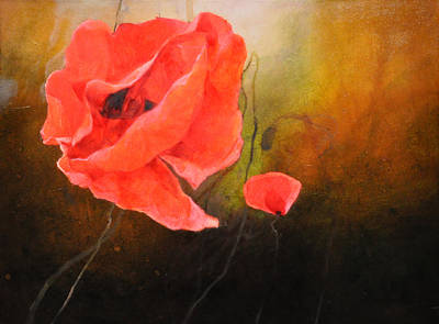 Red Poppy Painting - Morning Lights by Istvan Korbely